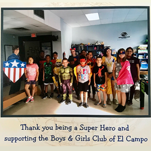 Thank you note from the Boys and Girls Club of El Campo