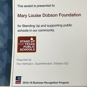 Award from Stand Up For Texas Public Schools